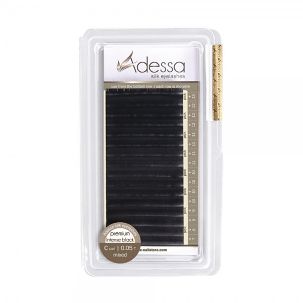 C curl, mixed 0,05/7 - 13mm Adessa Silk Lashes premium intense black