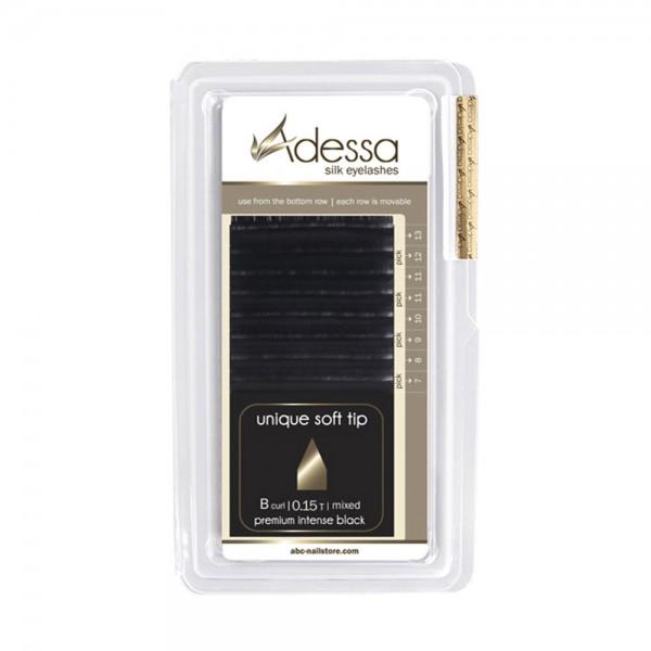 B curl, mixed 7 - 13mm Adessa Silk Lashes premium intense black