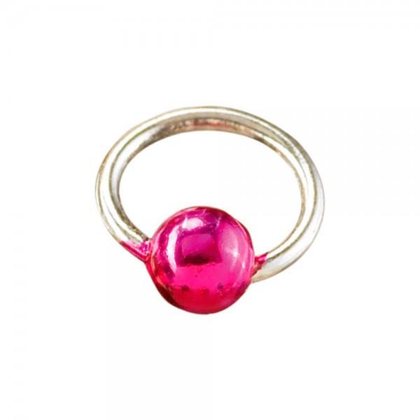Piercingring mini silber/pink
