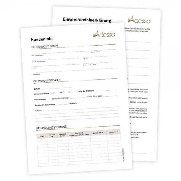 Adessa Lash Lifting Karteikarte und Einverständniserklärung, 25 Stück